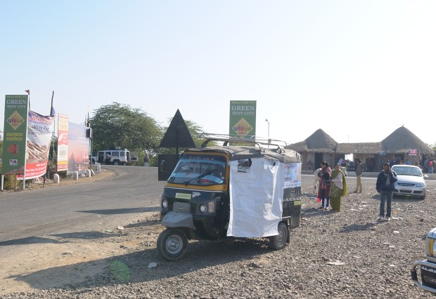Police Checkpost behind the auto